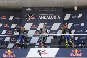 Podio:l ganador de la carrera Fabio Quartararo, Petronas Yamaha SRT, segundo lugar Maverick Viñales, Yamaha Factory Racing, tercer lugar Valentino Rossi, Yamaha Factory Racing