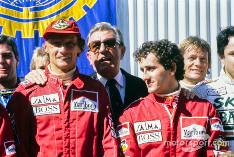 Niki Lauda, Jean-Marie Balestre and Alain Prost