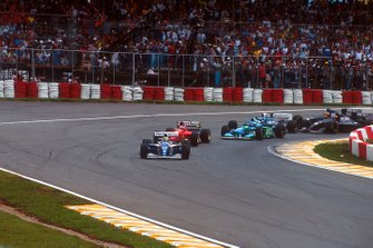 Ayrton Senna, Williams FW16 Renault, Jean Alesi, Ferrari 412T1, Michael Schumacher, Benetton B194 Ford, Damon Hill, Williams FW16 Renault, Heinz-Harald Frentzen, Sauber C13 Mercedes, Karl Wendlinger, Sauber C13 Mercedes