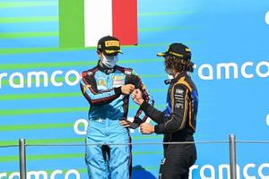 Matteo Nannini, Jenzer Motorsport And Race Winner Oscar Piastri, Prema Racing Celebrate on the podium