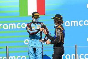 Matteo Nannini, Jenzer Motorsport And Race Winner Oscar Piastri, Prema Racing Celebrate on the podium