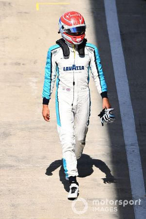 George Russell, Williams Racing, walks back to his garage