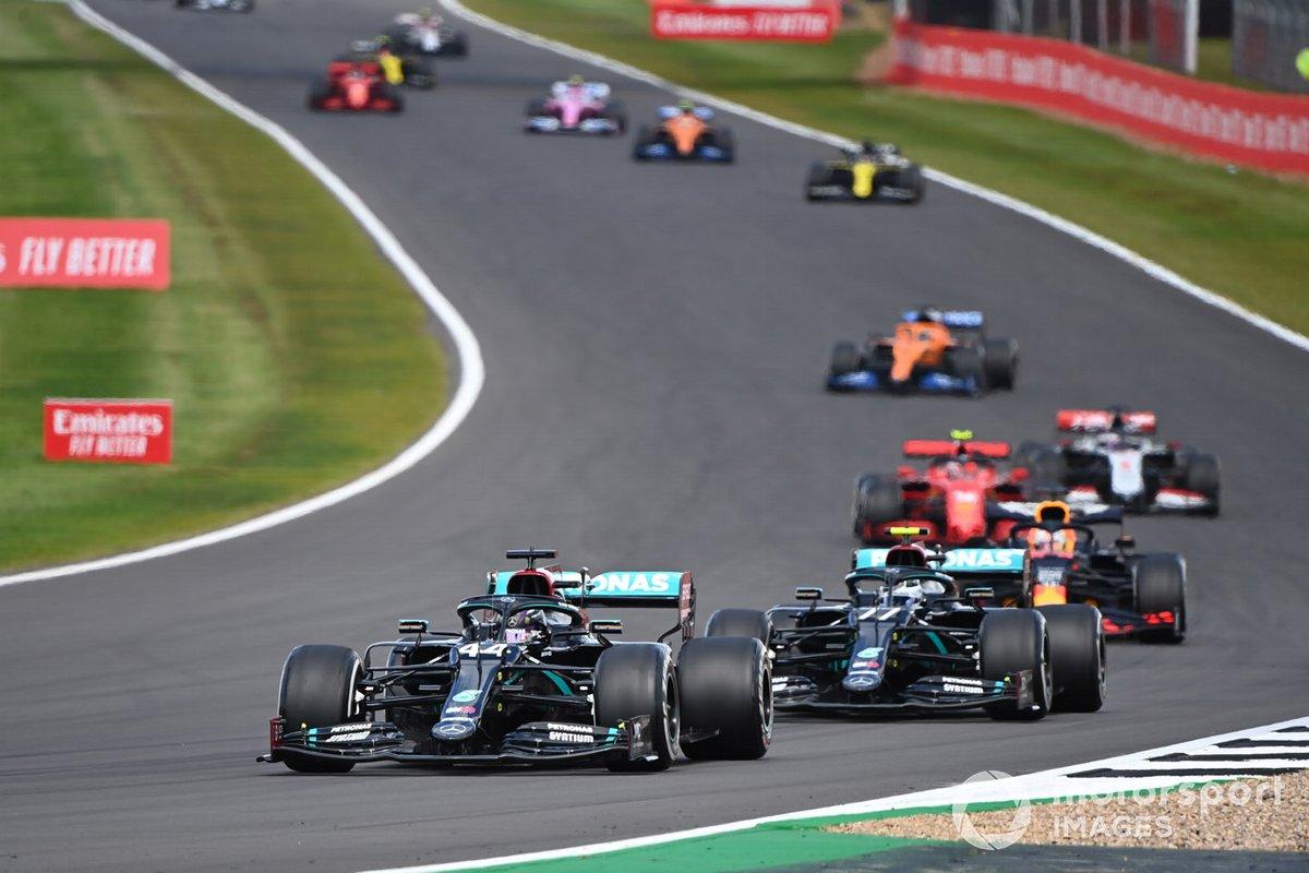 Lewis Hamilton, Mercedes F1 W11, Valtteri Bottas, Mercedes F1 W11, Max Verstappen, Red Bull Racing RB16, Charles Leclerc, Ferrari SF1000, Romain Grosjean, Haas VF-20