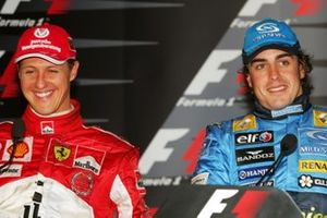 Michael Schumacher, Ferrari and race winner Fernando Alonso, Renault in the post race press conference