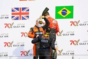 Jehan Daruvala, Carlin, Race Winner Felipe Drugovich, MP Motorsport and Callum Ilott, UNI-Virtuosi celebrate on the podium with the champagne