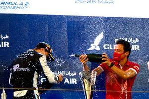Oscar Piastri, Prema Racing, 1st position, celebrates on the podium