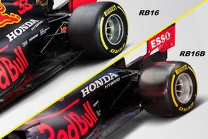 Confronto sospensione posteriore tra Red Bull Racing RB16B e RB15