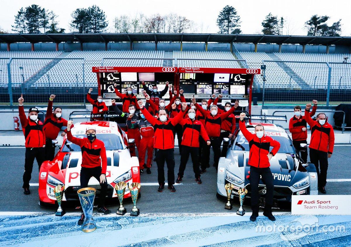 El campeón 2020, Rene Rast, Audi Sport Team Rosberg con Jamie Green, Audi Sport Team Rosberg y el equipo