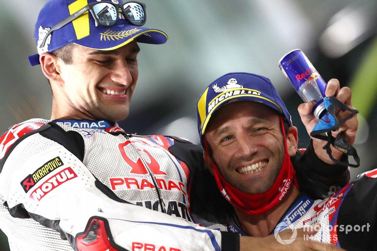 Segundo lugar Johann Zarco, Pramac Racing y tercer lugar Jorge Martín, Pramac Racing
