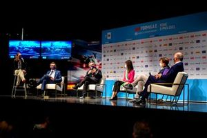 Alejandro Agag, CEO, Formula E, Mayor of Rome VIrginia Raggi, Francesco Venturini, CEO, Enel X, in the Press Conference