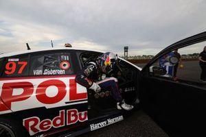 Race winner Shane van Gisbergen, Triple Eight Race Engineering Holden climbs out of the car