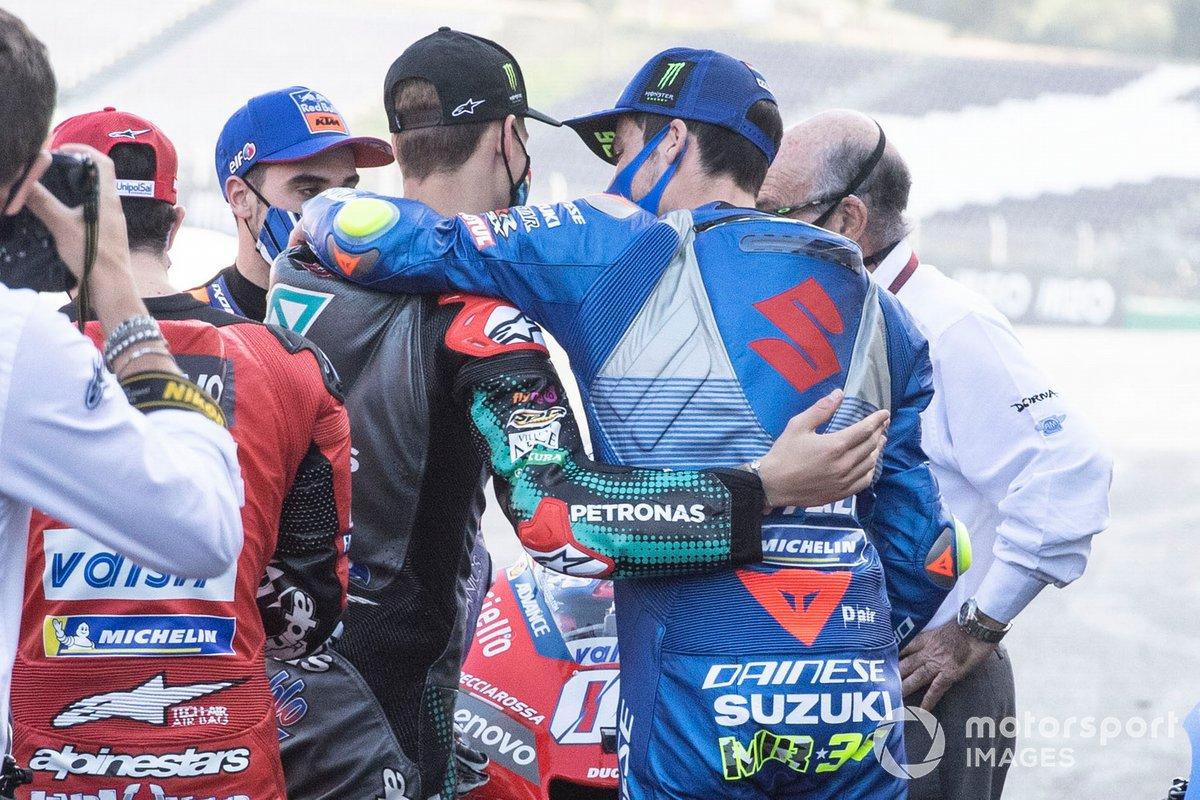 Joan Mir, Team Suzuki MotoGP, Fabio Quartararo, Petronas Yamaha SRT, Carmelo Ezpeleta, CEO de Dorna Sports