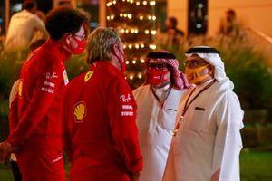 Mattia Binotto, Team Principal Ferrari, chats with Sheikh Abdullah bin Hamad bin Isa Al Khalifa and Crown Prince Salman bin Hamad bin Isa Al Khalifa