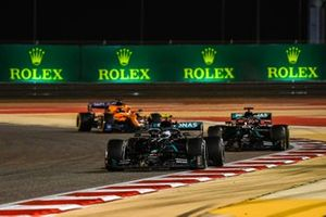 Valtteri Bottas, Mercedes F1 W11, George Russell, Mercedes F1 W11, and Carlos Sainz Jr., McLaren MCL35