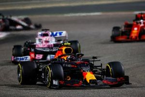 Alex Albon, Red Bull Racing RB16, Sergio Perez, Racing Point RP20, and Sebastian Vettel, Ferrari SF1000