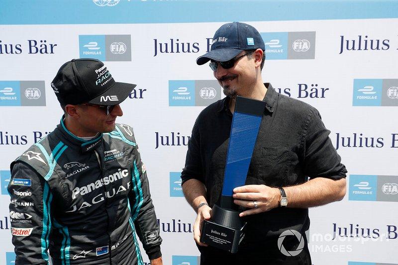 Mitch Evans, Panasonic Jaguar Racing receives the pole position award