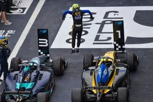 Luca Ghiotto, UNI Virtuosi Racing, celebrates victory in parc ferme, with Sergio Sette Camara, Dams
