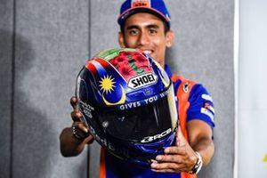 New helmet of Hafizh Syahrin, Red Bull KTM Tech 3