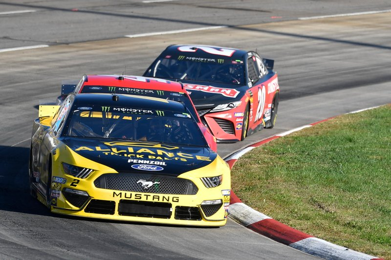 Brad Keselowski, Team Penske, Ford Mustang Alliance Truck Parts, Daniel Suarez, Stewart-Haas Racing, Ford Mustang Haas Automation, Erik Jones, Joe Gibbs Racing, Toyota Camry Craftsman
