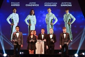 BRDC Racing Driver of the Year nominees Enaam Ahmed, Jamie Chadwick, Jonathan Hoggard and Ayrton Simmons