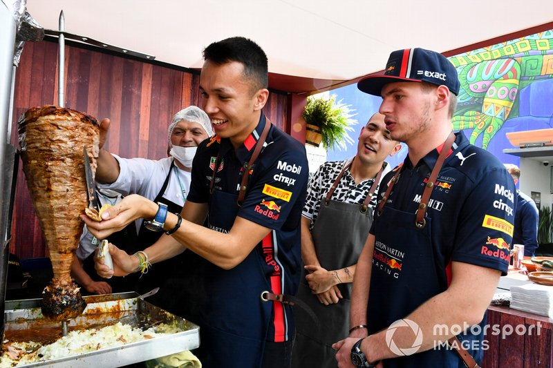 Alex Albon, Red Bull Racing and Max Verstappen, Red Bull Racing make a taco
