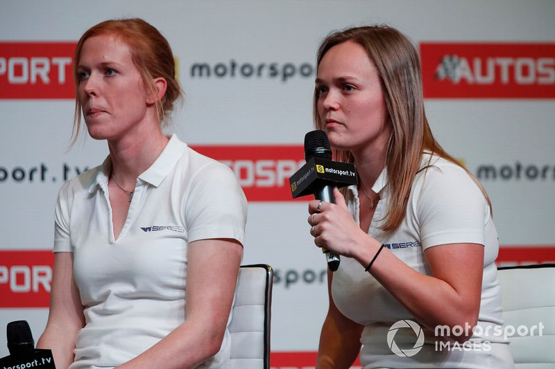 W Series drivers Alice Powell and Sarah Moore are interviewed on the Autosport stage
