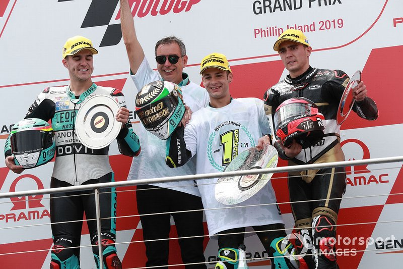 Podium: race winner Lorenzo Dalla Porta, Leopard Racing, second place Marcos Ramirez, Leopard Racing, third place Albert Arenas, Ángel Nieto Team