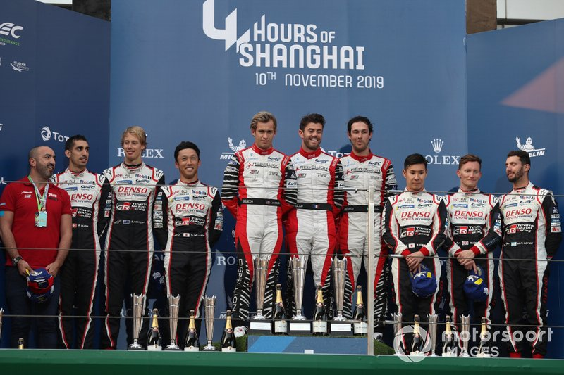 P1 Podium, #8 Toyota Gazoo Racing Toyota TS050: Sébastien Buemi, Kazuki Nakajima, Brendon Hartley, #1 Rebellion Racing Rebellion R-13 - Gibson: Bruno Senna, Gustavo Menezes, Norman Nato and #7 Toyota Gazoo Racing Toyota TS050: Mike Conway, Jose Maria Lopez, Kamui Kobayashi