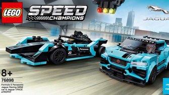 Jaguar I-PACE eTROPHY y el Jaguar de Fórmula E, por Lego