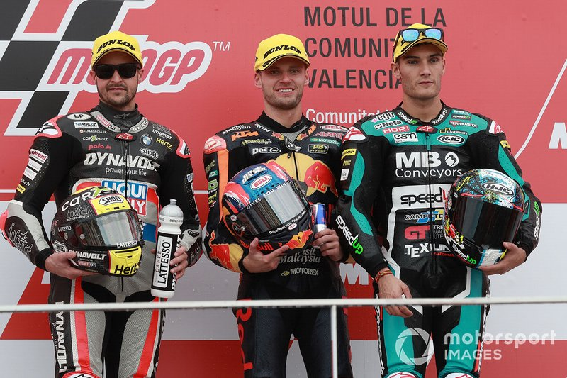 Podium: Race winner Brad Binder, KTM Ajo, second place Thomas Luthi, Intact GP, third place Jorge Navarro, Speed Up Racing