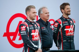 Kevin Magnussen, Haas F1 Team and Romain Grosjean, Haas F1 Team reveal the VF-20 with Gene Haas, Owner and Founder, Haas F1 Team