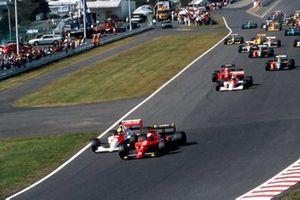 Arrancada Alain Prost, Ferrari 641 y Ayrton Senna, McLaren MP4/5B Honda