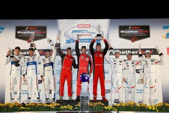 GTLM Podium: Winner #62 Risi Competizione Ferrari 488 GTE: Alessandro Pier Guidi, James Calado, Daniel Serra, second place #67 Ford Chip Ganassi Racing Ford GT: Ryan Briscoe, Richard Westbrook, Scott Dixon, third place #25 BMW Team RLL BMW M8 GTE: Tom Blomqvist, Connor De Phillippi, Colton Herta
