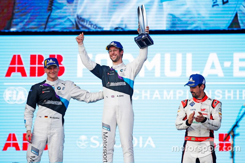 Podium: Race Winner Alexander Sims BMW I Andretti Motorsports, Second position Maximilian Günther, BMW I Andretti Motorsports, and Third position Lucas Di Grassi, Audi Sport ABT Schaeffler
