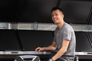 Alex Albon, Red Bull Racing on the pit wall