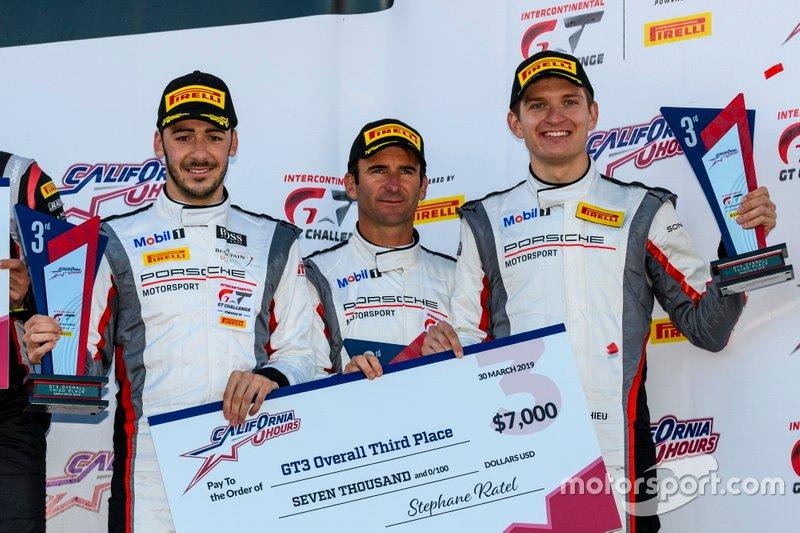 Podium: third place #911 Park Place Motorsports Porsche 911 GT3 R: Romain Dumas, Mathieu Jaminet, Sven Müller