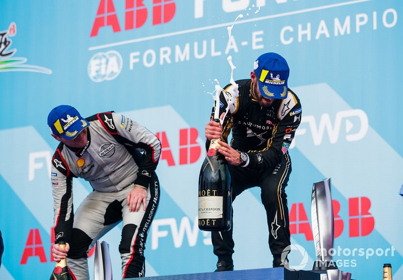 Jean-Eric Vergne, DS TECHEETAH, 1st position, Oliver Rowland, Nissan e.Dams, 2nd position, celebrate on the podium