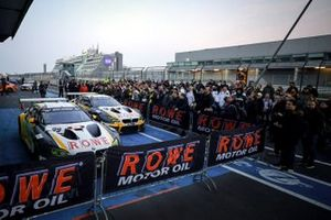 Parc Ferme: #98 ROWE Racing BMW M6 GT3: Connor De Phillippi, Tom Blomqvist, Mikkel Jensen, #99 ROWE Racing BMW M6 GT3: Nick Catsburg, Marco Wittmann, John Edwards
