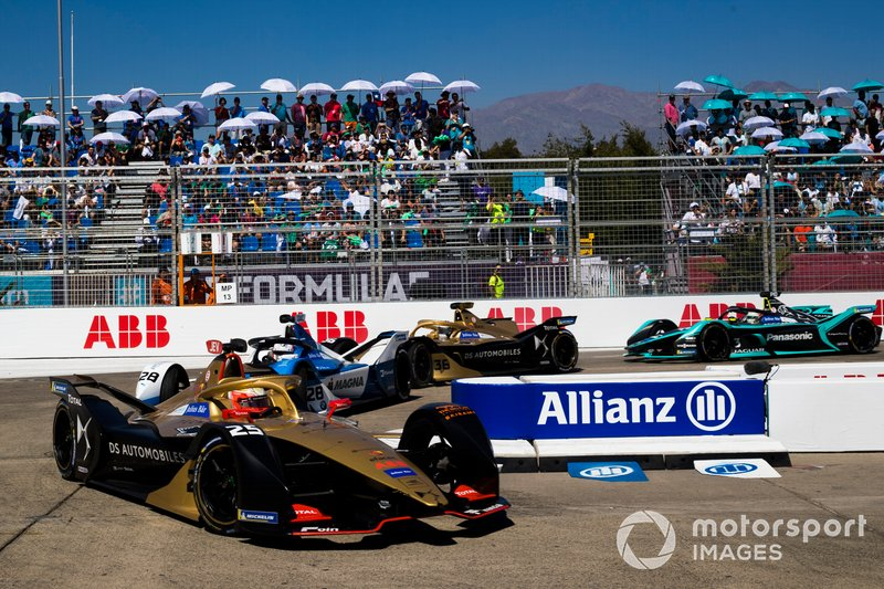 Jean-Eric Vergne, DS TECHEETAH, DS E-Tense FE19 Antonio Felix da Costa, BMW i Andretti Motorsport, BMW iFE.18, Andre Lotterer, DS TECHEETAH, DS E-Tense FE19, Nelson Piquet Jr., Jaguar Racing, Jaguar I-Type 3