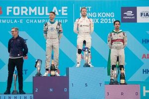 Podiun: race winner Sam Bird, Envision Virgin Racing, second place Edoardo Mortara, Venturi Formula E, third place Lucas Di Grassi, Audi Sport ABT Schaeffler, Chris Gorne, DS Virgin Racing Technical Director