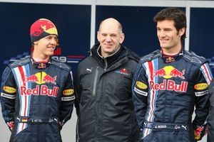 Sebastian Vettel, Red Bull racing, Mark Webber, Red Bull Racing con Adrian Newey, Chief Technical Director Red Bull Racing