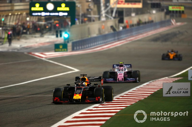 Max Verstappen, Red Bull Racing RB15, leads Lance Stroll, Racing Point RP19