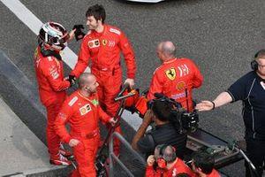 Charles Leclerc, Ferrari, in Parc Ferme with team mates