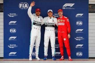 Polesitter Valtteri Bottas, Mercedes AMG F1, second Lewis Hamilton, Mercedes AMG F1, third Sebastian Vettel, Ferrari