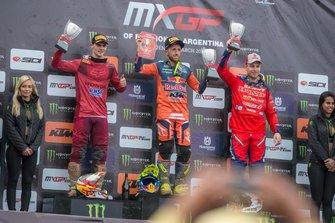 Tim Gajser van HRC Honda, Tony Cairoli van Red Bull KTM Factory Racing, Jeremy Van Horebeek, Honda