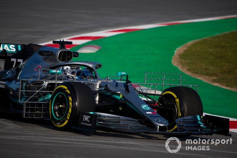 Valtteri Bottas, Mercedes AMG F1 W10, carries a test rig