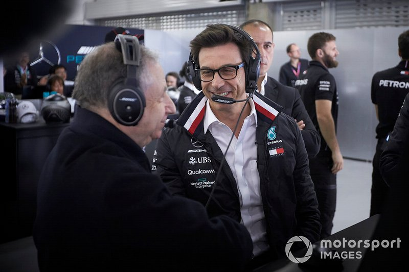 Jean Todt, President, FIA, Toto Wolff, Mercedes AMG
