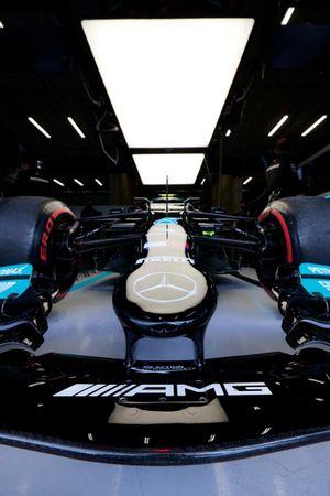 The car of Valtteri Bottas, Mercedes W12, in the garage