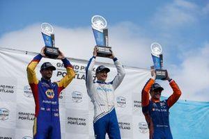 Podium: 1. Alex Palou, 2. Alexander Rossi, 3. Scott Dixon