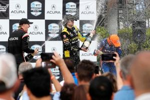 Colton Herta, Andretti Autosport w/ Curb-Agajanian Honda, Josef Newgarden, Team Penske Chevrolet, Scott Dixon, Chip Ganassi Racing Honda celebrate with champagne on the podium